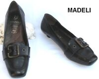 MADELI - CHAUSSURE PETITS TALONS CUIR NOIR  37 - COMME NEUF