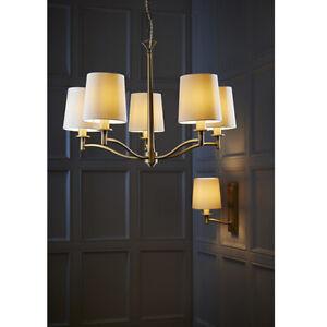 Elegant 5 Light Chandelier Chrome & Crystal Detail Vintage White Shades 74cm