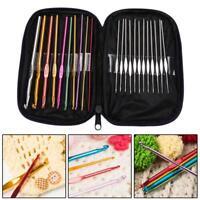 22Pcs Set Multi-colour Aluminum Crochet Hooks Needles Knit Weave Craft Yarn HOT