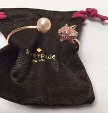 KATE SPADE 12K Gold Pink Imagination Pig Open Hinge Bangle Bracelet + Dust Bag