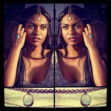 Gypsy Style Rainbow Moonstone Gold Head Chain/Head Piece/Headband/Chakra Chain