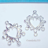 4x BRIGHT STERLING SILVER HEART CHANDELIER CONNECTOR N309A