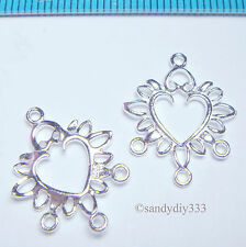 2x BRIGHT STERLING SILVER HEART CHANDELIER CONNECTOR N309