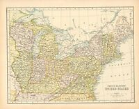 c1900 VICTORIAN MAP ~ NORTH EASTERN UNITED STATES ~ OHIO INDIANA KENTUCKY MAINE