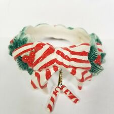 YANKEE CANDLE Ring Jar Topper - Holiday Christmas Wreath Ceramic Candy Cane