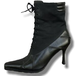 Stuart Weitzman 7.5 Black Leather Lace Up Boots Spats Pointy Toe Combat Granny