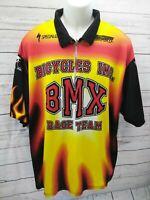 Hot Shoppe Jersey Shirt Bike Cycling Race Team Yellow Flames Fire Bmx XXL
