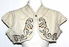 XS Embroidered Short SteamPunk Beaded Hippie Boho Bohemian Jacket Shrug Coat Top