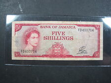 JAMAICA 5 SHILLINGS 1960 P53 #E BRITISH QEII ND 1964 WORLD BANKNOTE PAPER MONEY