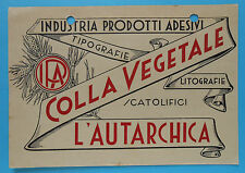 6853) Indust. Prod. Adesivi Colla Vegetale L' Autarchia Cartoncino Pubblicitario