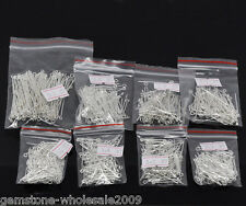 800PCS Wholesale Mixed Lots Silver Plated Eye Pins Findings SP
