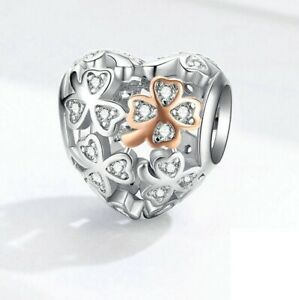 SOLID Sterling Silver Rose Gold Lucky Clover Heart Charm  by YOUnique Designs