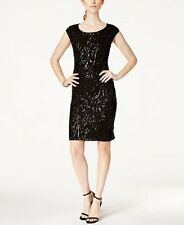 Connected Apparel Dress Petite Sz 10P Black Fully Sequined Cocktail Party Dress
