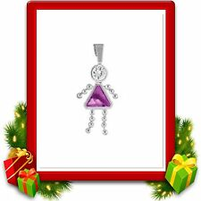 Sterling Silver Kids,Birthstone Girl Charm February Brats Crystal New Great Gift