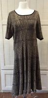 Luxe By Carmen Marc Valvo Sweater Dress Plus Size 2XW Animal Print Tan Black