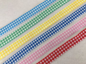 Gingham 15mm 2 Metres Fold Over Elastic FOE Check for Headbands Crafts