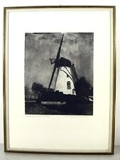 Paul Biesemann 1896 Rotterdam / Niederrheinische Mühle / Radierung handsigniert