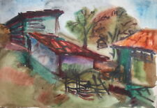 Vintage fauvist watercolor painting country scene