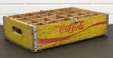 1960's UNUSUAL Vintage ENJOY COCA-COLA Yellow Wood COKE BOTTLE Wooden Crate