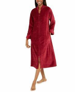 Miss Elaine Women's Jacquard Cuddle Fleece Long Zipper Robe Burgundy Sizes S-2X