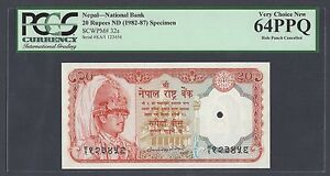 Nepal 20 Rupees ND(1982-87) P32s Specimen Uncirculated