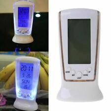 Digital Table Alarm Clock Snooze Thermometer Calendar with Backlight LED Display