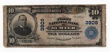 Rare 1902 Original $10 First National Bank Sumter S Carolina Large Currency Note