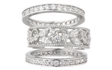 Epiphany Platinum Clad Diamonique Lace Design 3-pc. Ring Set Size 8  QVC  $100
