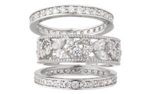 Epiphany Platinum Clad Diamonique Lace Design 3-Pc. Ring Set Size 6  Qvc  $100