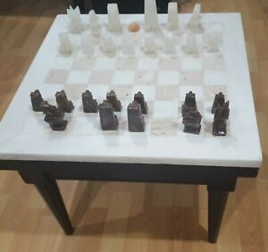 "20"" White marble chess board top coffee table with black wood bottom"