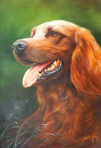 Original Oil Painting On Canvas - Animals - Golden Retriever
