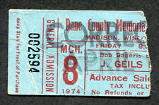1974  J Geils Band Concert Ticket Stub Madison WI Nightmares Must Of Got Lost