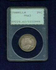 U.S. 1893 ISABELLA QUARTER-DOLLAR SILVER UNCIRCULATED COIN, CERTIFIED PCGS-MS62!