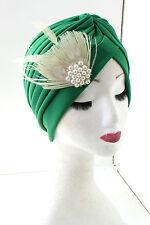 Verde & Blanco Marfil Perla pluma turbante Accesorio para pelo WW2 Vintage