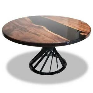 """36"""" Epoxy Round Resin Coffee Table Top Wooden Furniture Home Decor"""