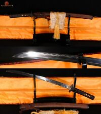 JAPANESE SWORD WAKIZASHI CLAY TEMPERED DAMASCUS BLADE HUALEE WOOD OX HORN SAYA