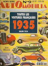 AUTOMOBILIA HS 9 TOUTES LES VOITURES FRANCAISES 1935 (SALON DE 1934)