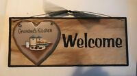 WELCOME GRANDMA'S KITCHEN wood heart grandma grandmother gift decor wall sign