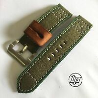 Handmade Green Canvas Leather Watch Strap Free Buckle.