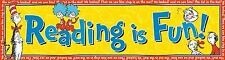 """Lot Of 2 Eureka Dr. Seuss Classroom Banner,Cat in The Hat Reading is Fun12 x 45"""""""