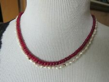 Natural Red Ruby/ White Pearl Solid 14K Yellow Gold 2 Strands Beaded Necklace