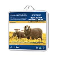 100% Australian Wool Reversible Underblanket Underlay Topper DOUBLE Size Bed NEW