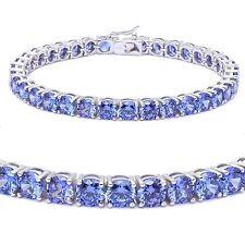 Brilliant Round Simulated Tanzanite Blue Diamond Sterling Silver Tennis Bracelet