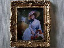 Lady en imagen en marco de oro recargado Sombrero, Casa Muñeca Miniatura, Decoración De Pared