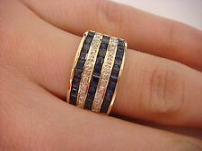 18K YELLOW GOLD 2 CT 5 ROW SAPPHIRES AND DIAMONDS WIDE LADIES BAND 8.8 GRAMS