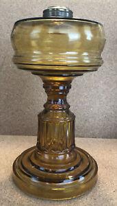 """Antique Amber Glass Oil/Kerosene Lamp Base Paneled Pedestal EAPG 8-1/2""""No.1"""