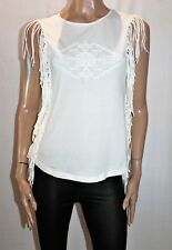 SUPRE Brand White Fringed Puff Print Top Size XS BNWT #SE51