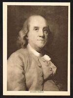 1910s Antique Vintage Benjamin Franklin Portrait Gravure Art Print