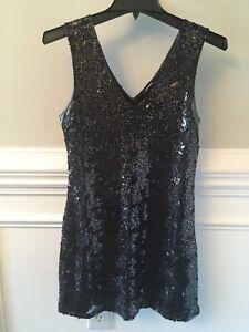EXPRESS Black Sequin Dress Sz XS