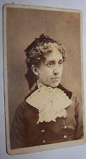 1882 HAPPY NEW YEAR ANTIQUE VICTORIAN LADY CDV PHOTO LOCKPORT NY